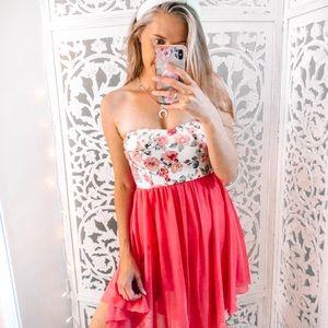 Coral Peach Floral Asymmetrical Strapless Dress